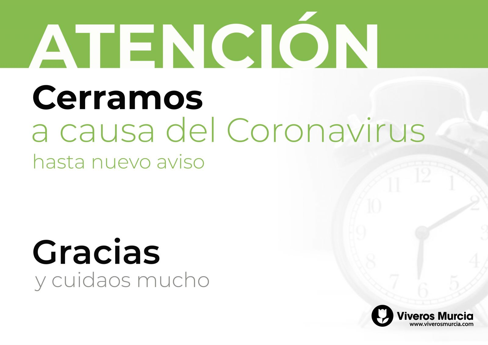 Cierre temporal a causa del Coronavirus