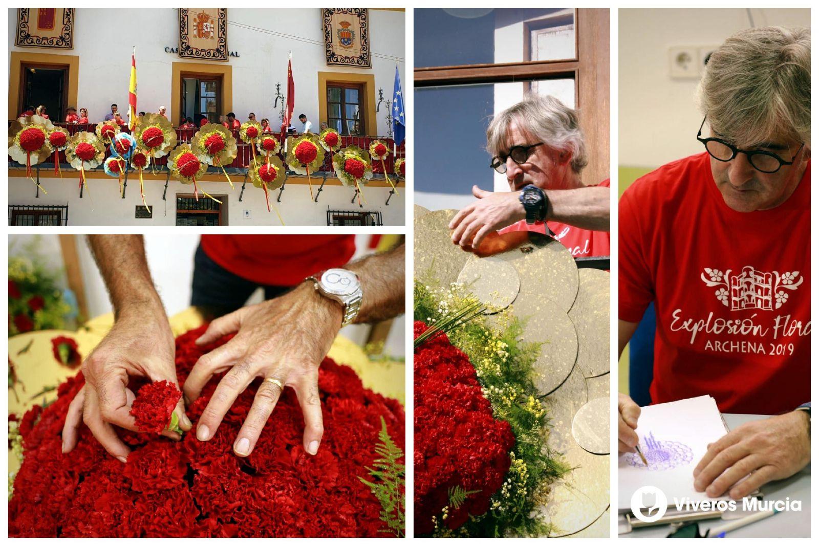 Floristas de Viveros Murcia colaboran el primer proyecto de arte floral de Archena